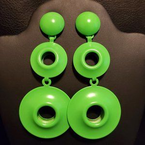 Neon Green Fashion Earrings